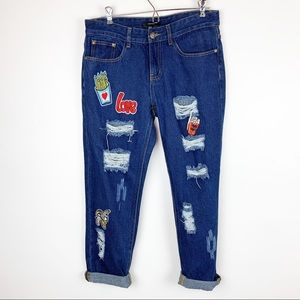 FOREVER 21 PATCHWORK DESTROYED JEANS SIZE M
